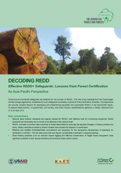 Decoding REDD: Effective REDD+ Safeguards - Lessons from Forest Certification