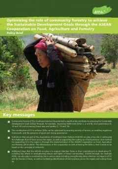 Optimizing the Role of Community Forestry to Achieve the Sustainable Development Goals through the ASEAN Cooperation on Food, Agriculture and Forestry
