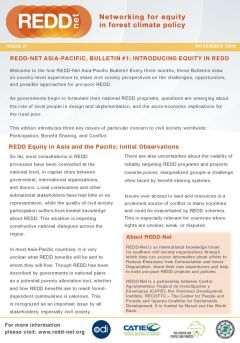 REDD-Net Asia-Pacific Bulletin #1: Introducing Equity in REDD